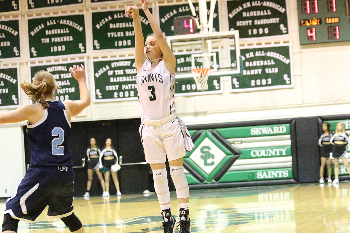 Lady Saints Defeat Colby on Record Night