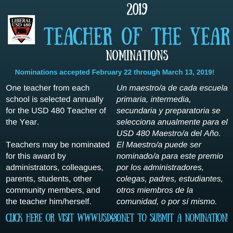 USD 480 Seeks Teacher of the Year Nominations