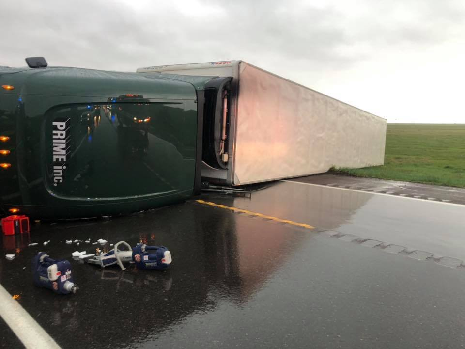 Gust of Wind Causes Semi Accident and Injures 2