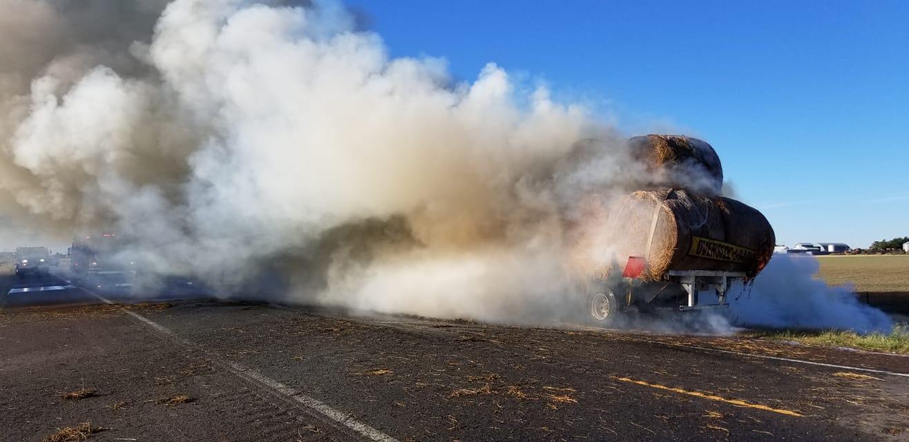 Seward County Fire Extinguish Semi Truck Hay Fire