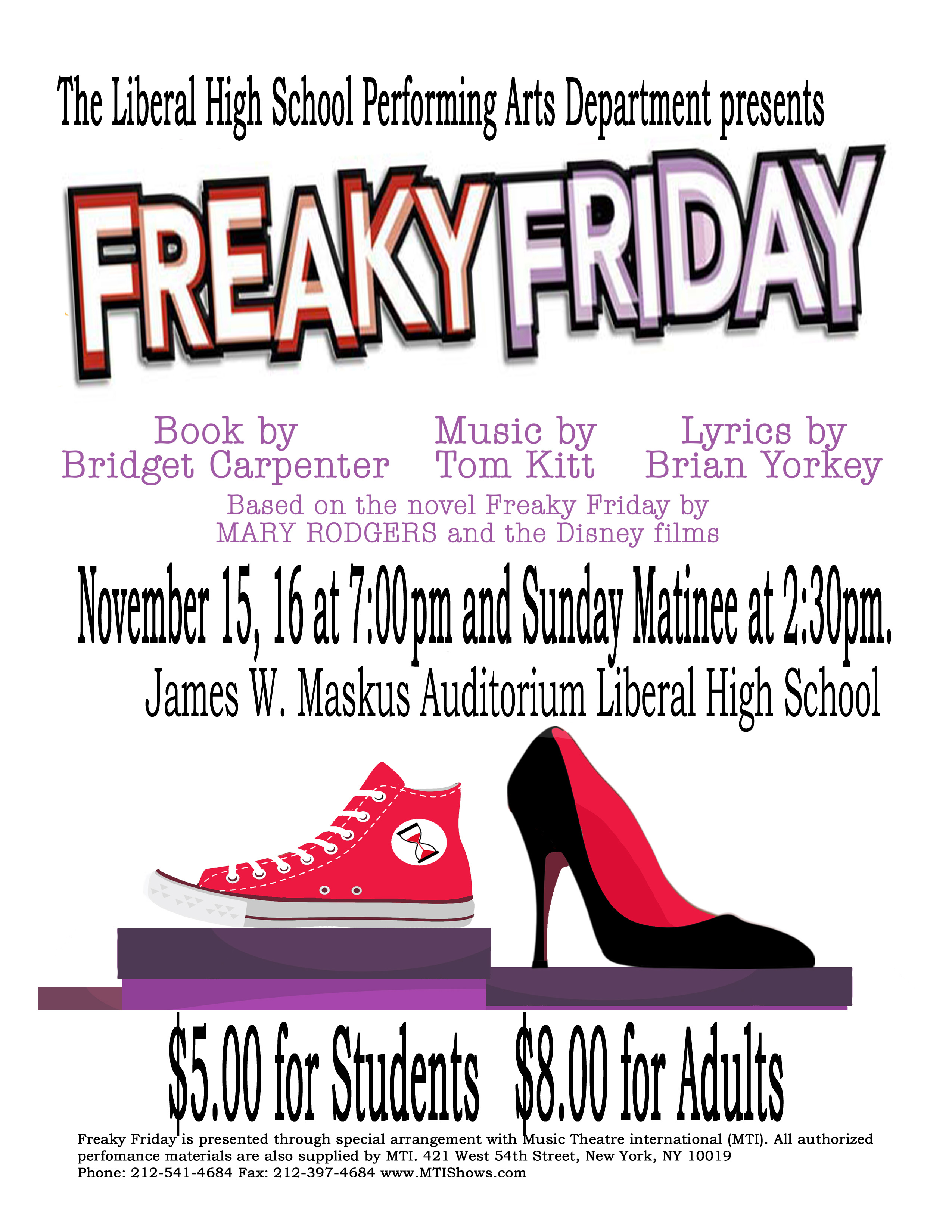 Freaky Friday the Musical this Weekend at LHS