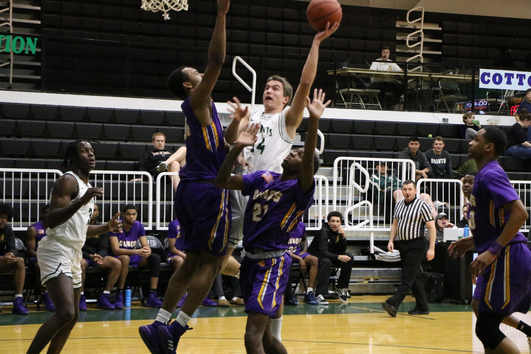 Saints Start Hot and Stay Hot in Win Over Conqs
