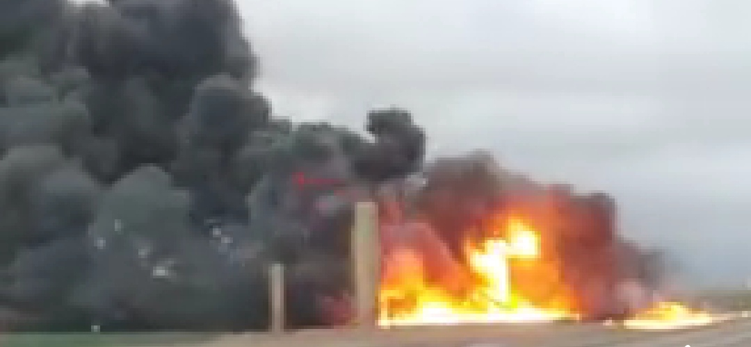 Lightning Strike Ignites Tank Battery