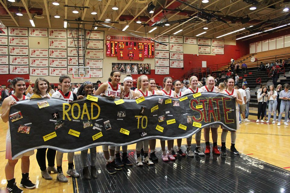 Pep Bus and Send Off for Lady Redskins