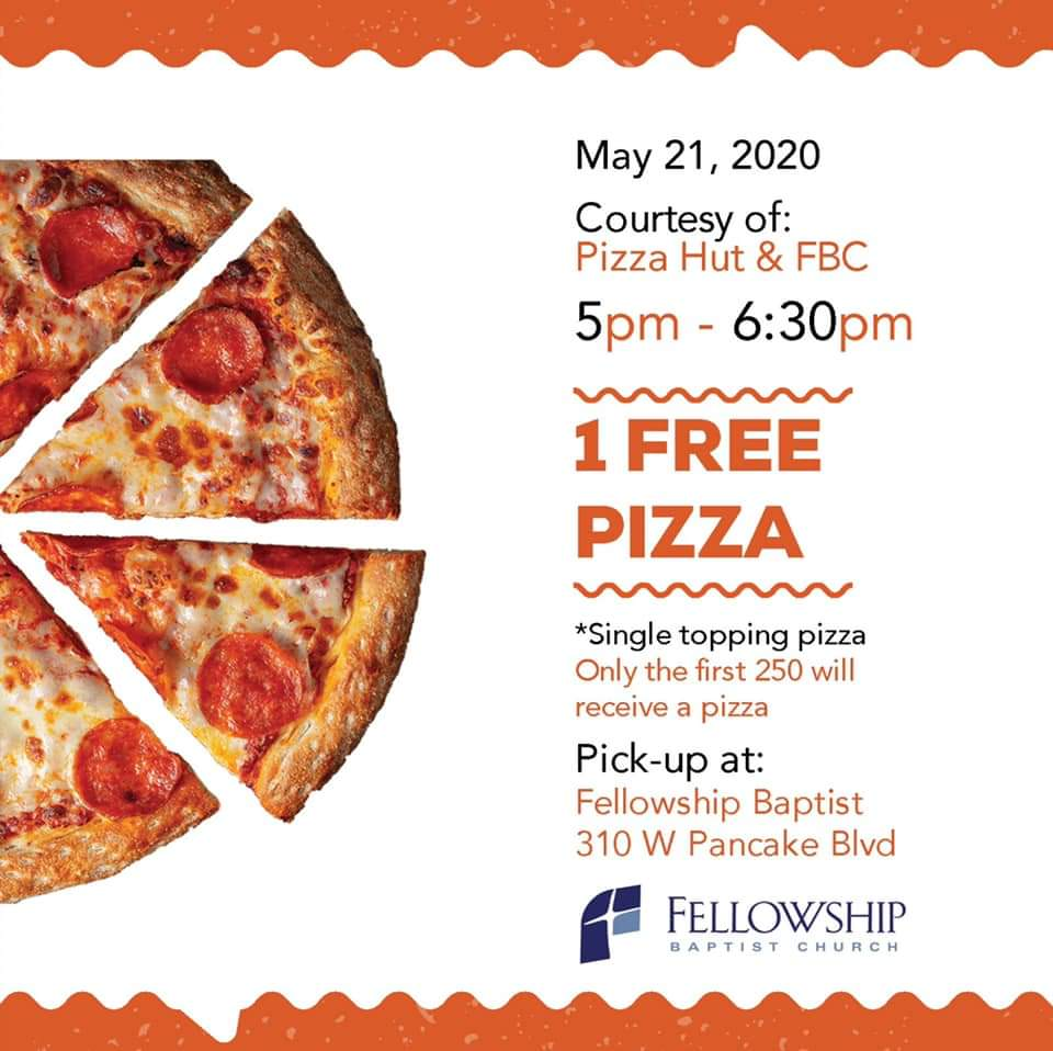 Fellowship Baptist Church to Offer Free Pizza to the Community