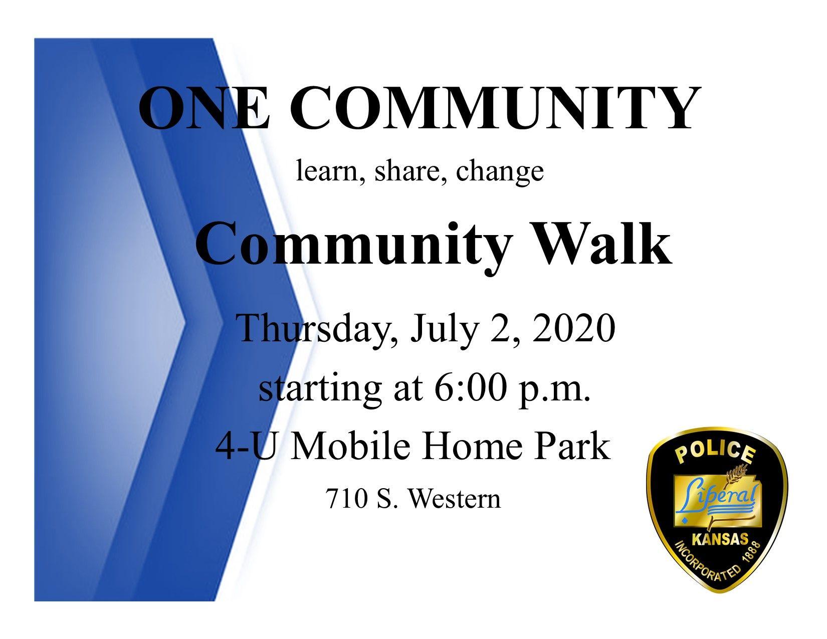 Liberal Police Host First Community Walk Thursday Night